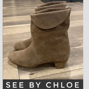 Authentic See by Chloe suede leather boots 9